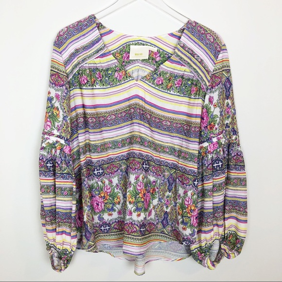 Anthropologie Tops - Anthropologie Maeve striped floral  BoHo top